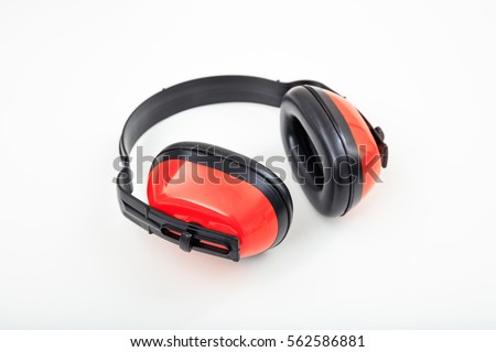 Protective earphones isolated on white background