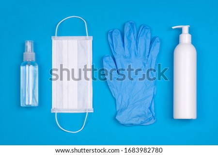 Protective equipment for prevention of virus infection such as hand sanitizer, surgical mask and latex gloves