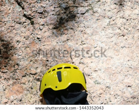 Protective helmet for dangerous work at height. Extreme sports and kind of works #1443352043