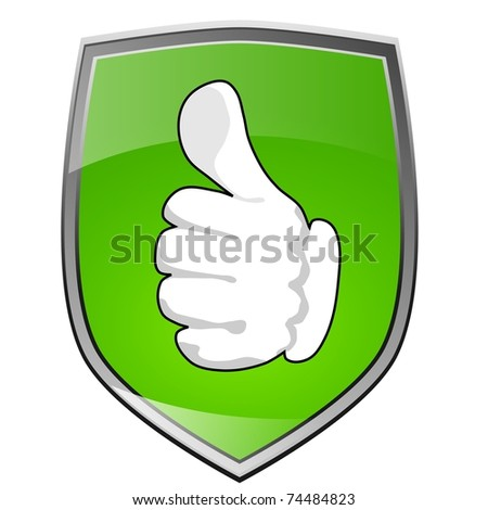 Protective shield with thumb up
