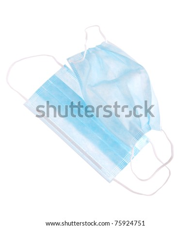 protective surgical masks isolated in white background