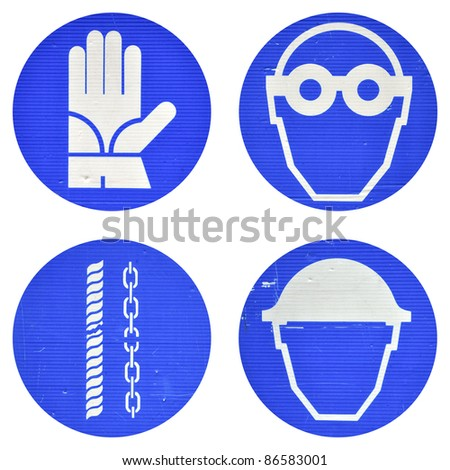 Protective wear and safety at work signs