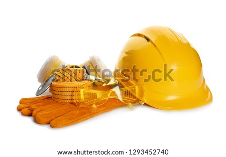 Protective workwear on white background. Safety equipment