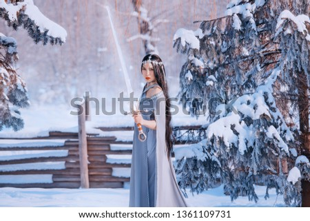 protector on alert, fight of good and evil, magnificent courageous girl with dark long hair in gray warm cloak with glowing crystal sword, brave war goddess in cold winter white forest, snow queen #1361109731