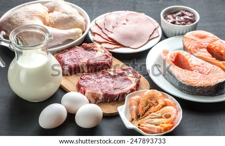 Shutterstock Protein diet: raw products on the wooden background