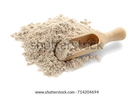 Protein powder and wooden scoop on white background