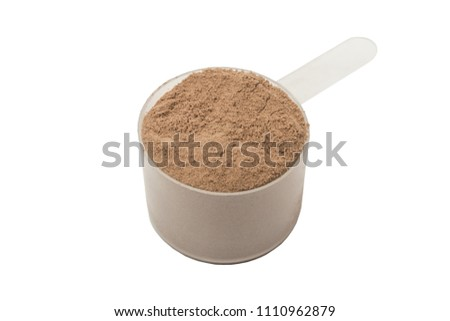 Protein powder in scoop. Isolated on white background