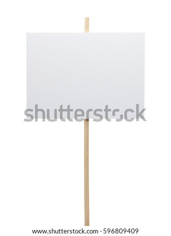 Protest Sign with Copy Space Isolated on White Background.