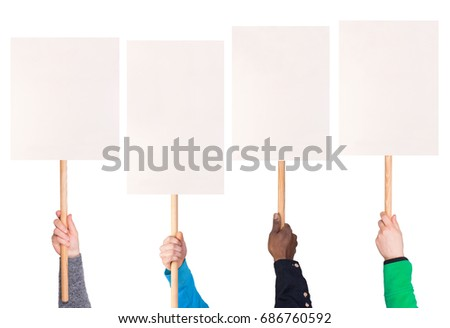 Protest signs held in hands, isolated on white background