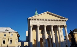Protestant church with corinthian columns in Karlsruhe on a sunny winter's day