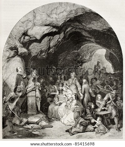 Protestants assembly in a cave, old illustration. Created by Girardet, published on Magasin pittoresque, Paris, 1842