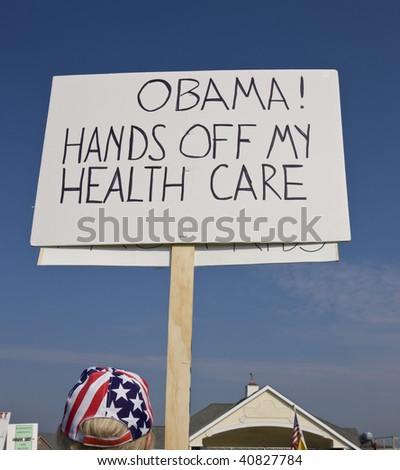 Protester to Obama health care reform.
