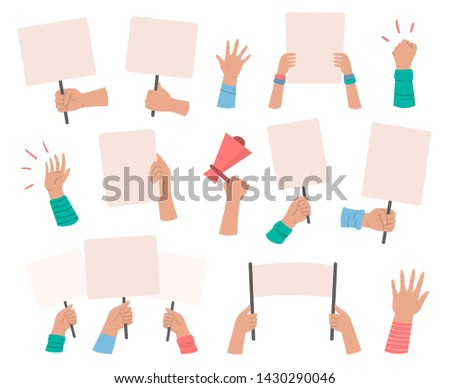 Protesters banners. Manifestation sign placard hold in hand, peace protest poster and blank vote placards. Demonstration activist speech or activist rally isolated  icons set