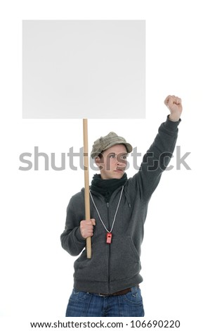 Protesting person with sign