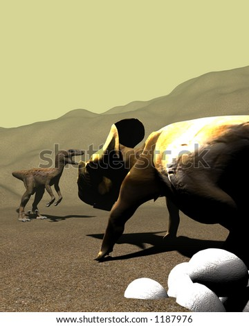 protoceratops guarding its egGs from a raptor