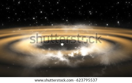 Protoplanetary disk. Rings around young star suggest planet formation in progress, illustration