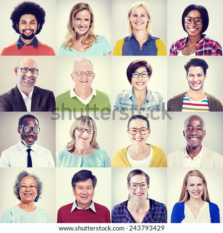 Protrait of Group Diversity People Community Happiness Concept #243793429