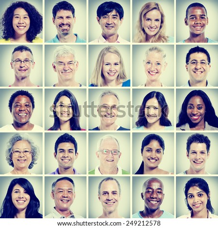 Protrait of Group Diversity People Community Happiness Concept #249212578
