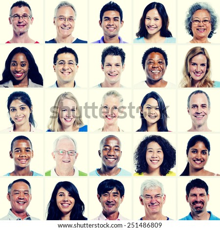 Protrait of Group Diversity People Community Happiness Concept #251486809