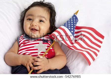 Proud Asian American Baby Celebrating July Fourth