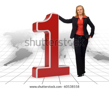 Proud businesswoman standing near a 3d rendered number one symbol on a floor with earth map