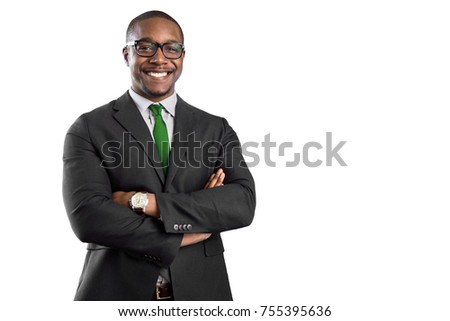 Proud cheerful smiling successful african american business man isolated on white background
