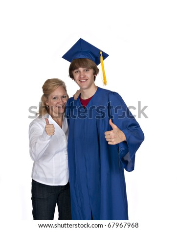 proud mom with son in blue graduation gown both giving thumbs up on white background
