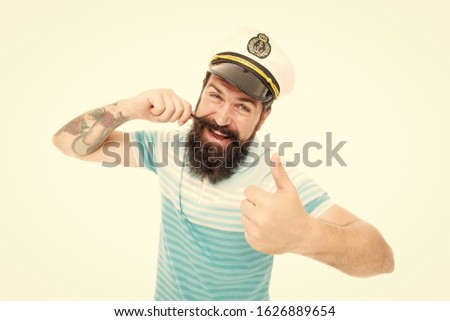 Proud of his mustache. Happy sailor twirl mustache. Bearded man with mustache give thumbs up. Fabulous masculine mustache style. Spirit of adventure.