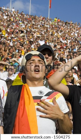proud soccer fan at world cup in germany