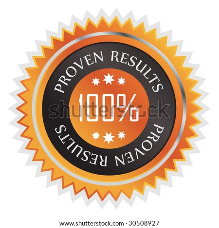 Proven results sticker isolated on white with metallic blue  look