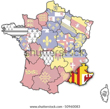 Provence-Alpes-C?te d'Azur on old map of france with flags of administrative divisions