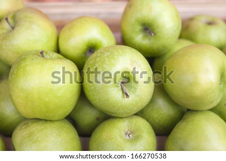 Provence, France. Eco-friendly products on the counter of the city market.  Large ripe apples
