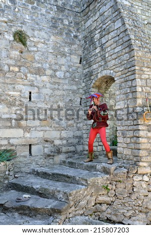 PROVENCE, FRANCE - JUL 16, 2014: Unidentified musician perform in the street to entertain tourists in medieval village Vaison la Romaine.This is one of the popular for outdoor performances in Provence