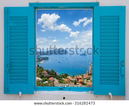 provence window with view of  cote dAzur, France #316281473