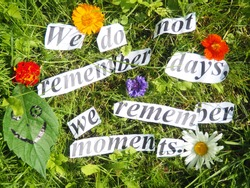 proverb. we do not remember days, we remember moments.
