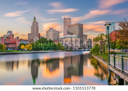 Providence, Rhode Island, USA downtown cityscape viewed from above the Providence River.