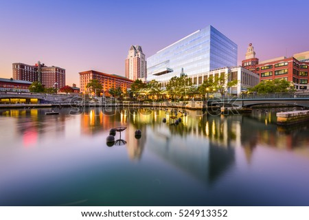 Providence, Rhode Island, USA skyline at Waterplace Park.