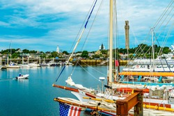 Provincetown Marina and Pilgrim Monument, Provincetown MA US