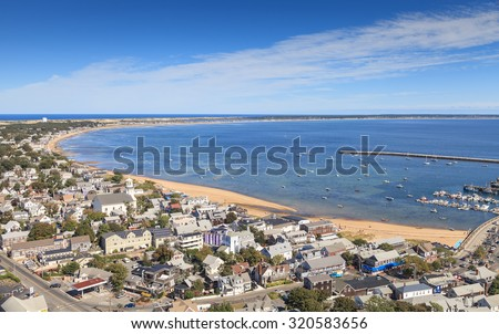 Provincetown, Massachusetts, Cape Cod city view and beach and ocean view from above. #320583656