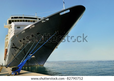 prow front view of a large cruise liner ship