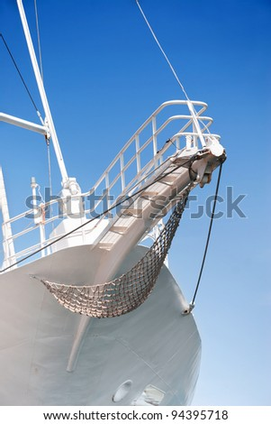 Prow of sailing boat