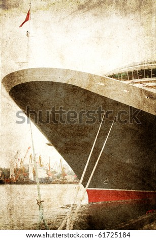 Prow of ship in marina.Photo in vintage image style.