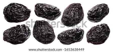 Prunes isolated on white background with clipping path, dried plums collection Stockfoto ©
