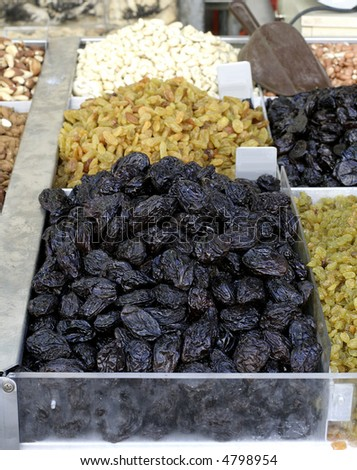 prunes on display in market