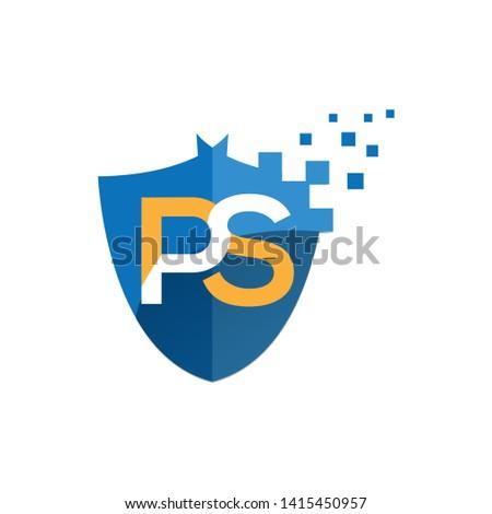 Ps cyber logo simple simple design