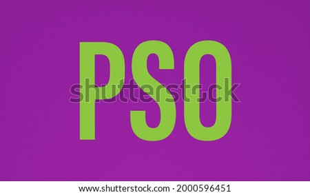 PSO word Text on a Purple background, PSO stand for Pakistan Super Oil.  ストックフォト ©
