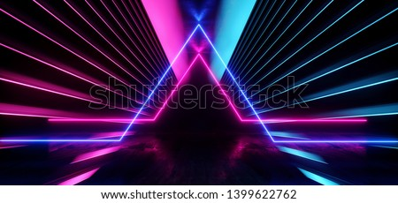 Psychedelic Abstract Futuristic Neon Fluorescent Sci Fi Vibrant Purple Blue Glow Laser Showcase Stage Dark Room Retro Modern Virtual Background Spaceship Corridor Tunnel Shapes 3D Rendering