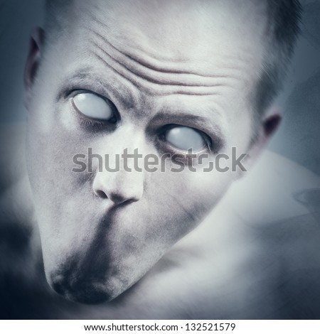 Psychedelic and scary man with white eyes and no mouth.