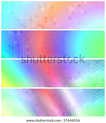 Psychedelic Banners or Headers - stock photo