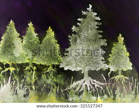 Psychedelic Christmas trees in the night. The dabbing technique gives a soft focus effect due to the altered surface roughness of the paper.